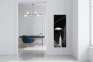Modern white home office interior with a marble and brass table, a dark blue armchair and a marble floor. A framed poster. 3d rendering mock up